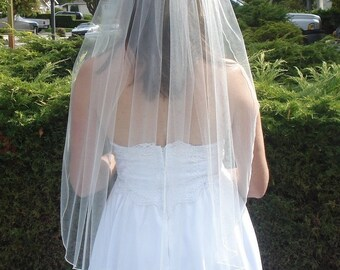 One Tier Finger Tip Length Veil With Pencil Edge Ivory White Off White - READY TO SHIP in 3-5 Days