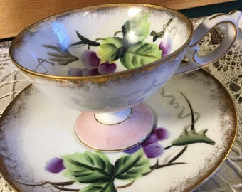 Vintage Tea Cup and Saucer Purple Grapes-Collectible Tea Cups-Pink and Purple Tea Cup