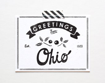 Screenprinted State of Ohio Postcard
