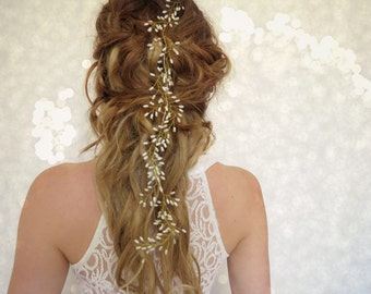 boho hair piece, Wedding Hair piece, Bridal head piece, flower crown, Wedding Hair vine, Babies breath, wedding head piece, bridal hairpiece