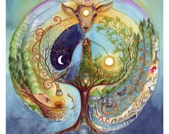 A4 Art Print, Deer Medicine, Celtic Art, Labyrinth, Ceridwen,  Shamanic Journey, Elen of the Ways, Ferryman, Deer Goddess, Welsh Goddess