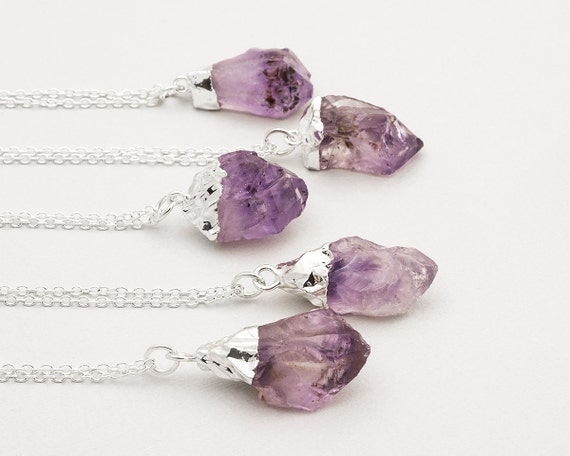 February birthstone raw amethyst necklace silver crystal like this item aloadofball Gallery
