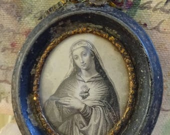 RARE and Hauntingly Beautiful Antique Framed Immaculate Heart of Mary