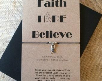 Faith - Hope - Believe Wish String Bracelet - Awareness Ribbon Charm