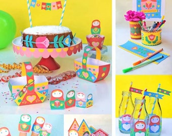Russian Doll party printables to instantly download. 21 PDF party activities, decorations and ideas. Easy DIY templates by Happythought.
