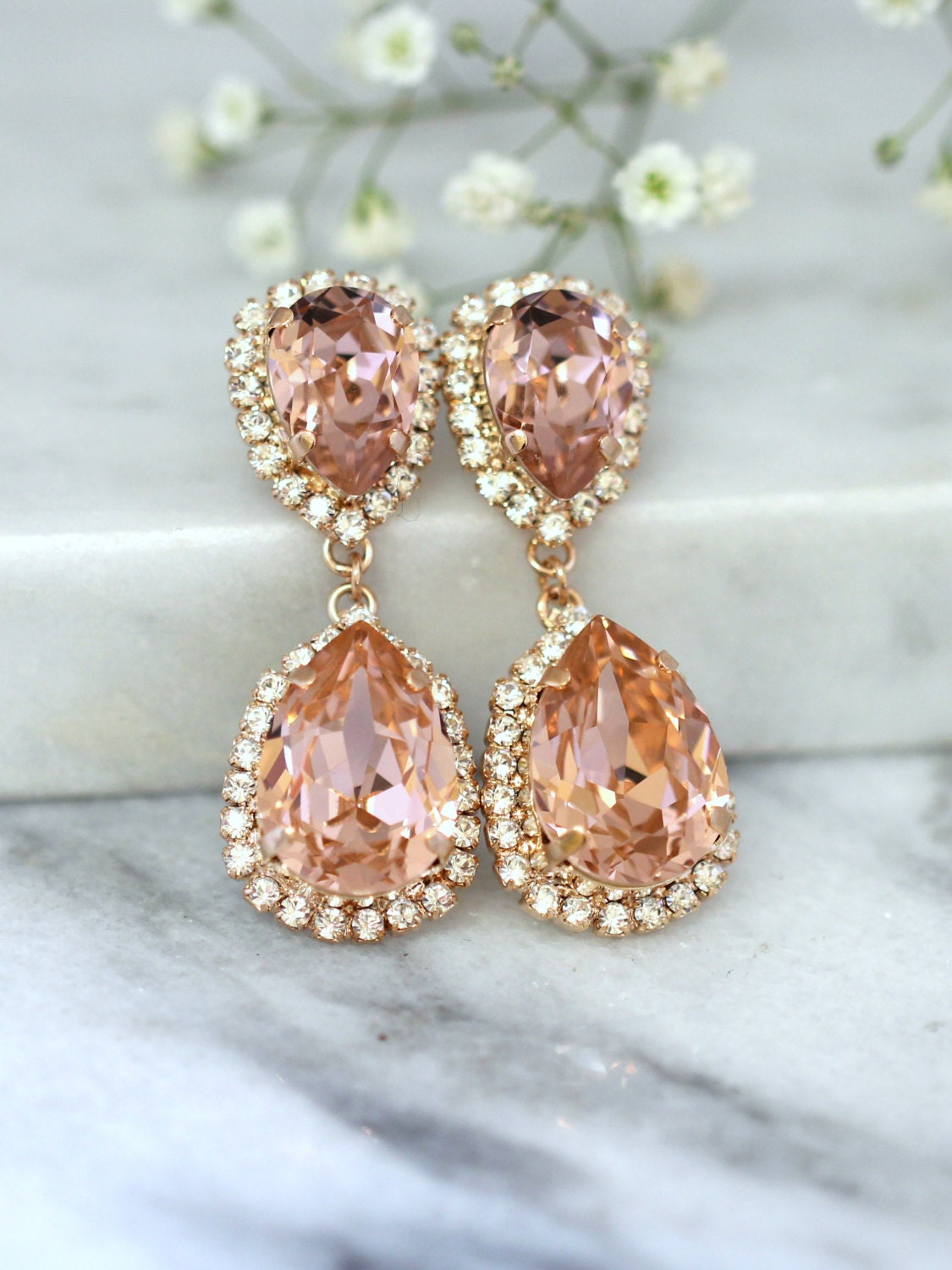 Rose gold blush earrings bridal blush earrings bridal drop zoom arubaitofo Image collections