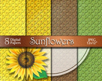 Sunflowers Autumn Digital Paper from Acrylic Painting | Floral Digital Download | Scrapbooking Paper | Orange Yellow Green | Paper Crafts