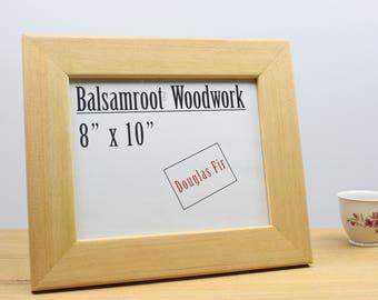 8x10 frame, fir frame, wood frame, handmade frame, wood photo frame, living room decor, solid wood frame, wood wall decor, cubicle decor