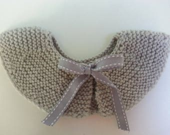Peter Pan collar removable gray wool embellished with a bow 30-6 month - birthday gift idea