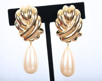 vintage GIVENCHY huge Chunky Estate Costume Earrings - clip on, designer, signed, faux pearl and gold