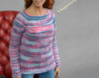 1/6th scale OOAK hand knit sweater for female figure dolls eg Phicen TBLeague seamless bodies