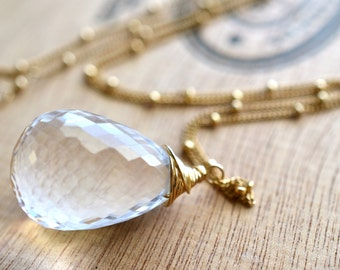Large Clear Crystal Quartz Gold Filled Necklace