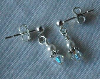 Swarovski Crystal Pearl and Sterling Silver Earrings, Flower Girl Earrings, Junior Bridesmaid Earrings, Birthstone Earrings, Tiny Earrings