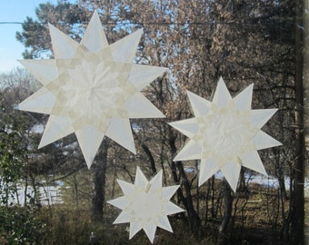 3 White 10-Pointed Waldorf Inspired Window Stars (Set of 3 Stars)