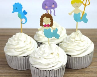 24pcs Underwater World Mermaid Sea Horse Jellyfish Cupcake Toppers/cartoon topper/dessert topper/kid party/cupcake decoration/wedding topper