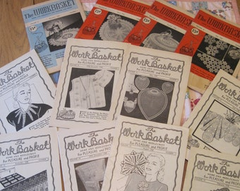 Lot of 12 Small Vintage 1940s 1950s Work Basket Magazines