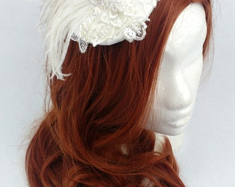 Ivory Burlesque Fascinator with Ostrich Feathers 20s Flapper Gatsby Headpiece Cocktail Hat