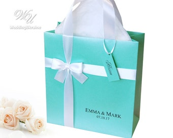 100 mint gift Bags with Elegant white satin ribbon, bow, names and Custom Personalized tag for guests, Wedding welcome bags for favors