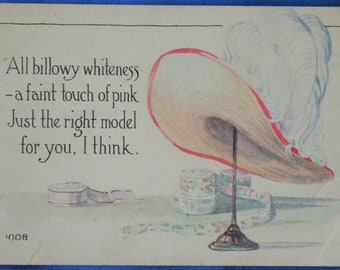Art Woman's Huge Hat Stand White Feathers Pink Trim 1914 Postcard