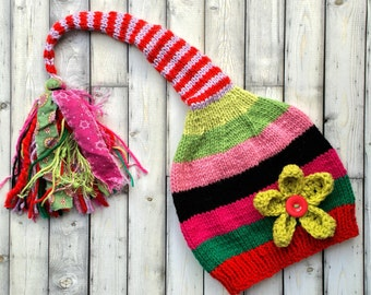 Girl Flower SToCKiNG CaP Long Tail Knit PiXiE Hat FuN TaSSeL BeANiE Girly Red Pink Green Black Stripe ToQUE Child to Small Adult UNiQUE GiFT