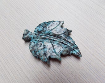 Blue Kiwi Jasper carved leaf pendant