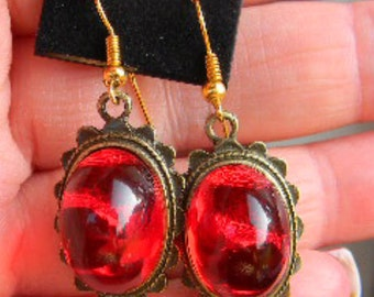 Renaissance Royal Queen's Jewels Ruby Red OR Sapphire Blue Cabochon Earrings