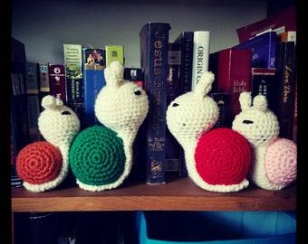 Custom Snail, photo prop, made to order, crochet, baby shower,  present, home decor, amigurumi, baby shower gift,  birthday, garden snail