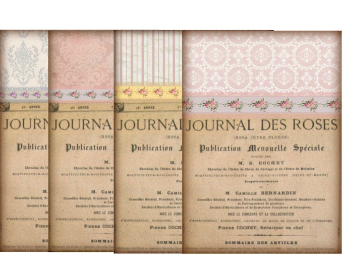 Printable Notecards, Vintage French Digital Wallpaper Printable, Digital French Notecards, Journal Des Roses Download
