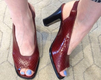 SALE! ROBERT CLERGERIE shoes,peep toe,sling back, sandals, size 7, quality, vintage,French, snakeskin,leather, chic!
