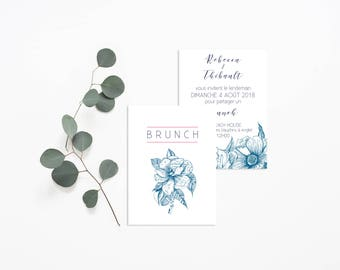 Printable Brunch Invitation - Botanical Brunch - Floral Wedding Brunch Card - Vintage Floral Wedding Brunch - Flowers Wedding Invitation