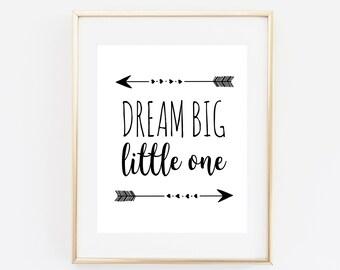 Dream big little one, nursery decor, nursery printable, baby room wall art, nursery quote, typography art print, nursery wall art, baby boy