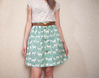 OH MY DEER mint green organic cotton skirt // gonna verde acqua in cotone con cervi