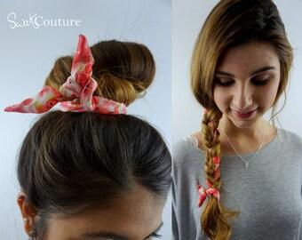 BUN WIRE Wrap Flex Wire Headband Pink & Cream English Rose Hair Accessory for Buns PonyTail Braid Ins Bun Wraps Hair Tie - Choose Color