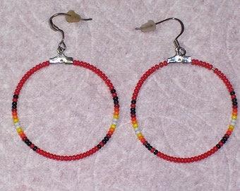 Native American Beaded Red Hoop Earrings