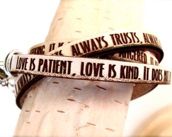 Love is... 1 Corinthians 13:4-8 Daily Reminder Leather wrap bracelet