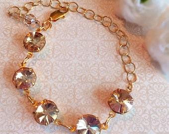 Gold Crystal Bracelet - Champagne - Victorian Jewelry - Art Deco - WELWYN Golden Champagne