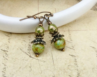 Green Earrings, Olive Green Earrings, Olive Earrings, Coral Earrings, Picasso Earrings, Czech Glass Beads, Victorian Earrings, Gifts