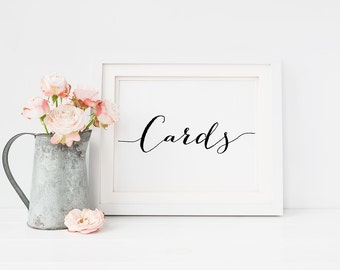 """PRINTABLE Art """"Cards"""" 4x6 5x7 Wedding Sign Print, Table Sign, Reception Wedding Decor Party Black White, Modern Calligraphy Digital Download"""