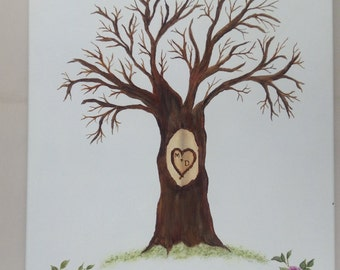 WEDDING Fingerprint Tree Thumb Print Guest Book for Shower finger print - CANVAS - Engagement party