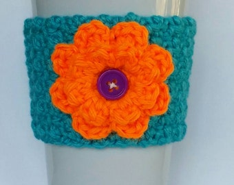 Crochet Summer Flower Coffee Cup Cozy Turquoise and Neon Orange