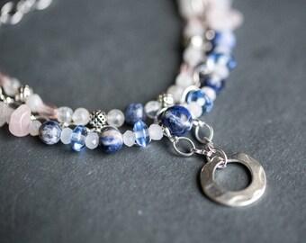 Moonstone Rose Quartz Sodalite Bracelet / Silver Charm Gemstone Bracelet / Blue Pink Bracelet / Multistrand Bracelet