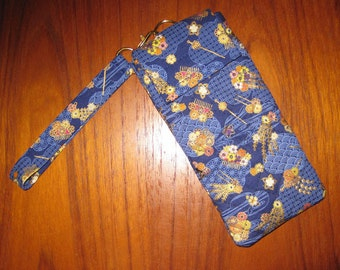 Japanese Quilted Fabric Eyeglasses Sunglasses Sleeve Geisha Hair Ornaments Blue