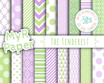 "Digital paper: ""THE TENDEREST"" paper pack & backgrounds for mother's day, valentine's day, wedding, love, baby in light green and lilac"