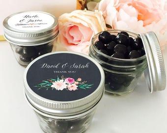 4 oz Mason Jar & Mason Jar Labels Mini Mason Jar Wedding Favors Small Mason Jars with lids Personalized Wedding Favors (EB2392GDN) - 12| pcs