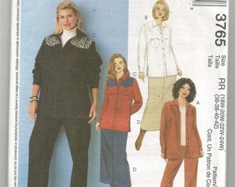 3765 McCalls Sewing Pattern Long Sleeve Shirt Skirt Jeans UNCUT Plus Size 18W 20W 22W 24W
