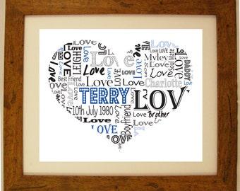 Personalised Heart Shaped Love Birthday Wedding Anniversary Word Art Gift