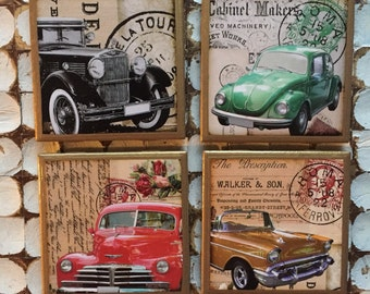 COASTERS! Vintage car coasters with gold trim