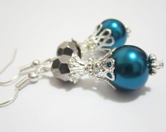 Teal Blue Pearl Earrings Victorian Vintage Earrings Pearl and Crystal Earrings Bridal Bridesmaid Gift Crystal Pearl Wedding Jewelry Gift