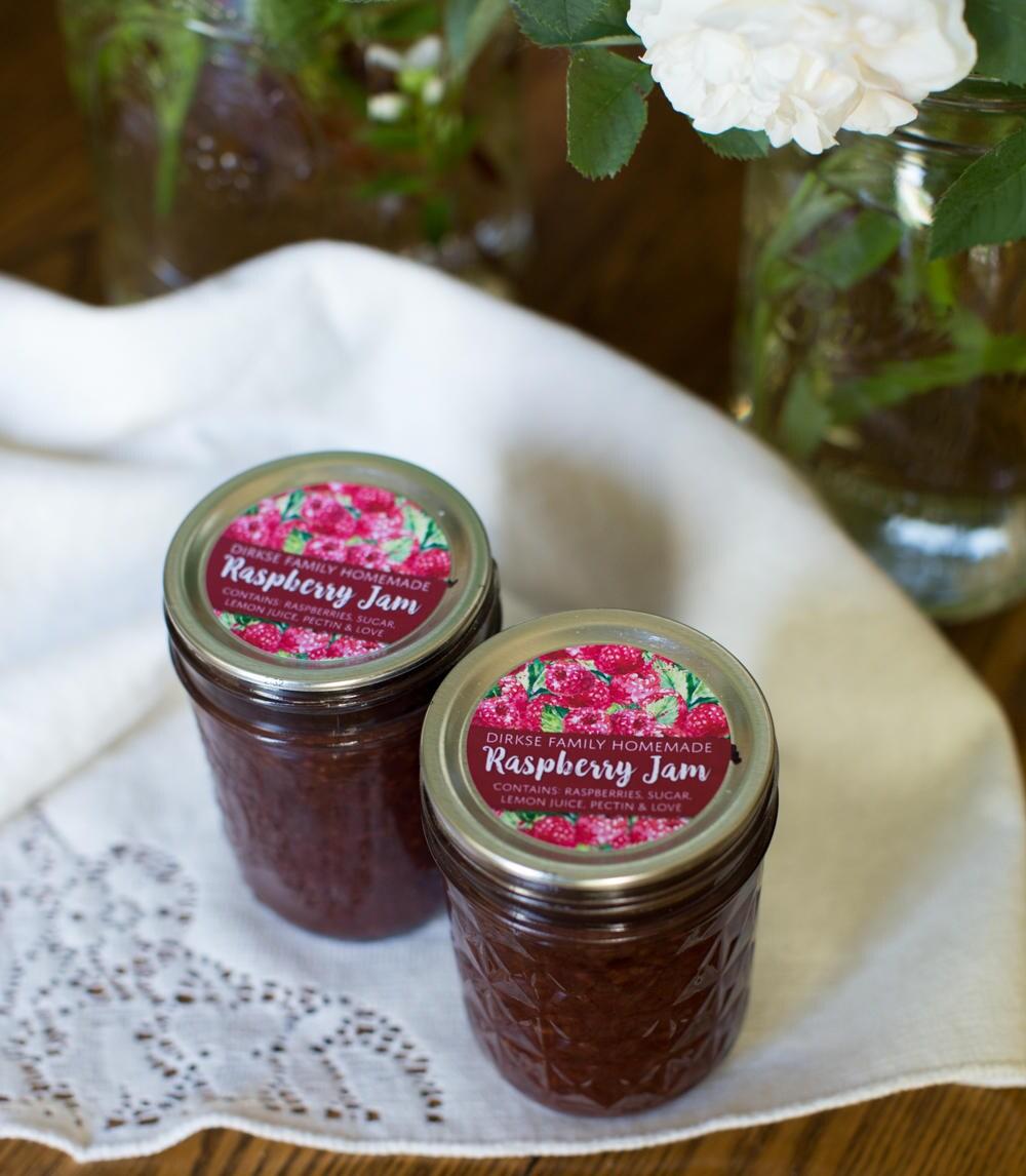 Customized Raspberry Jam Canning Label Raspberry Jelly