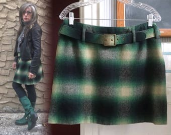 Size 10 Wool Cashmere Limited America 80's Vintage Green Buffalo Plaid Skirt Rocker Punk Indie Girl Hipster Chick
